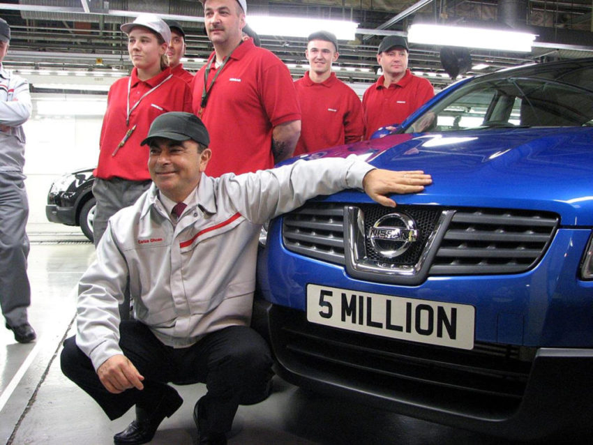 Carlos Ghosn, president and chief executive of Nissan, with the 5 millionth car - a Qashqai - to roll off the production line at its Sunderland plant.