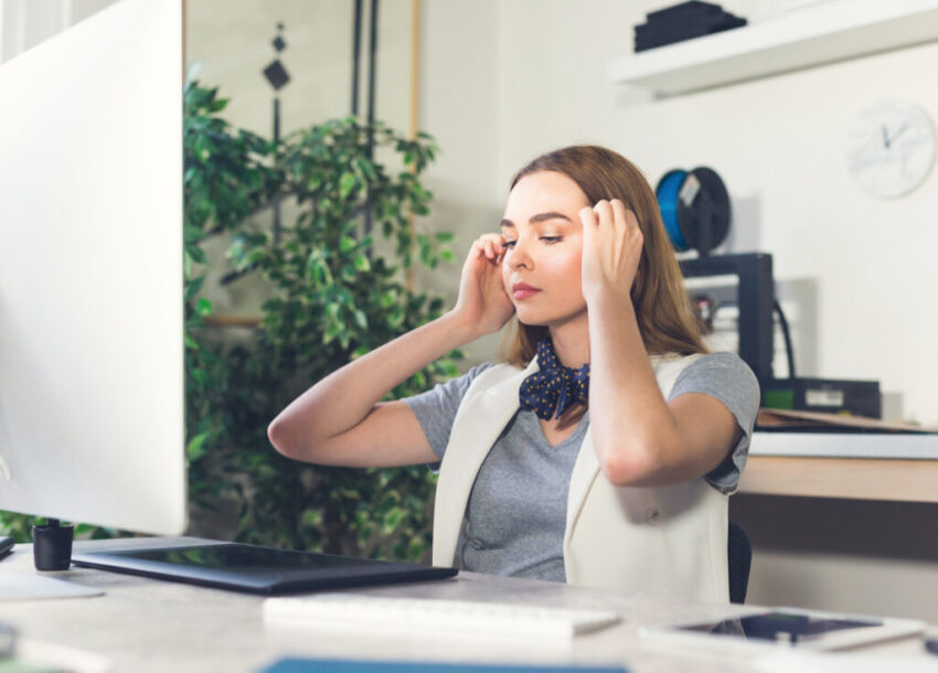 Stressed homeworker