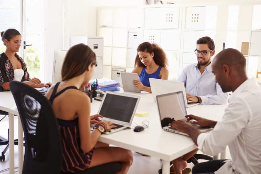 Creative Team Working In Office Of Start Up Business
