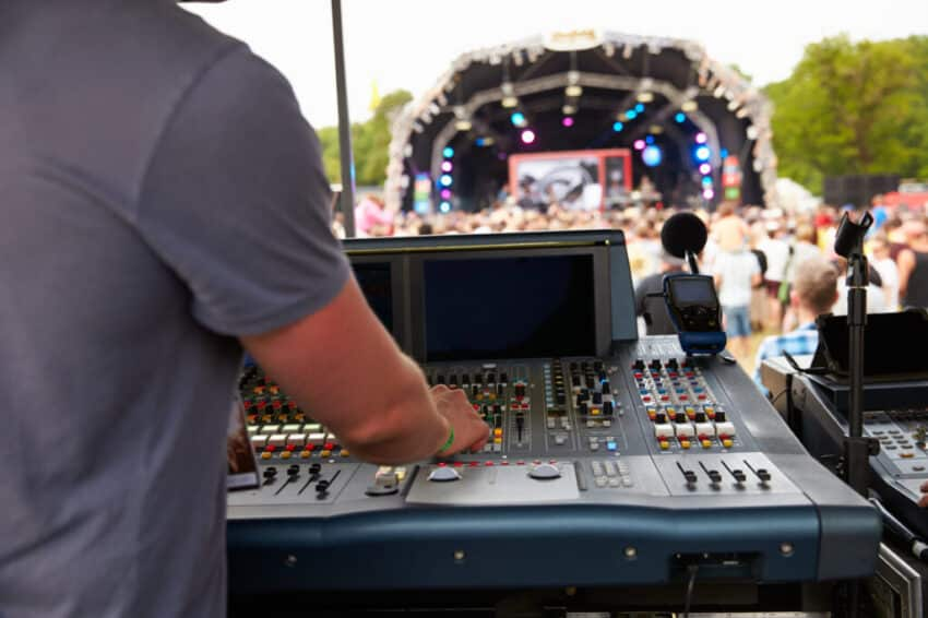 Sound and lighting engineer at an outdoor